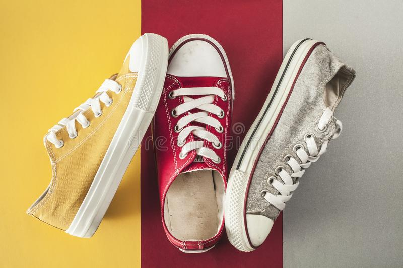 Canvas shoes high angle view royalty free stock photography