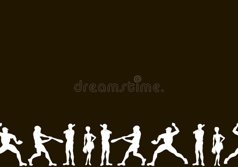 canvas Siluette disegnate a mano di vettore dell'giocatori di baseball C illustrazione vettoriale
