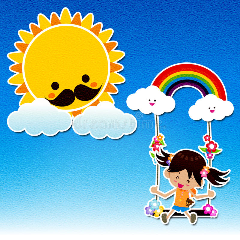 Canvas style Smile girl playing the swing under a sun and rainbow with white cloud, blue sky vector illustration