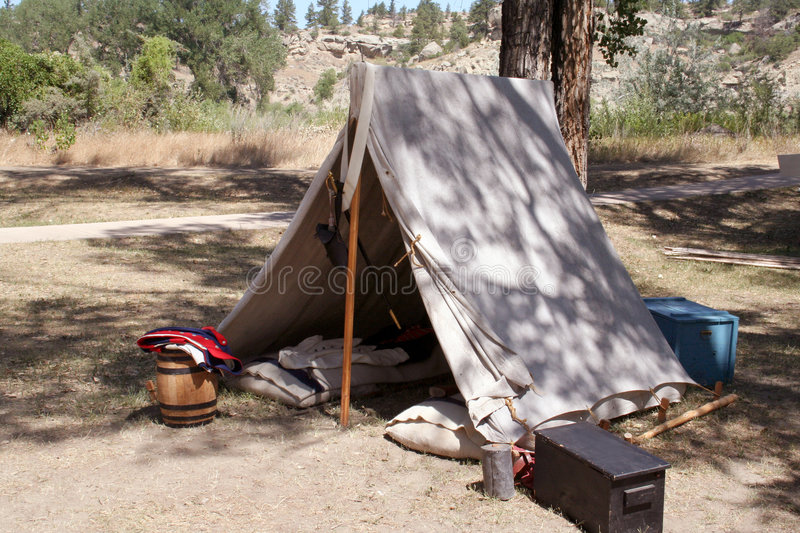 Canvas Tent. Soldier's Tent from the civil war era stock photos