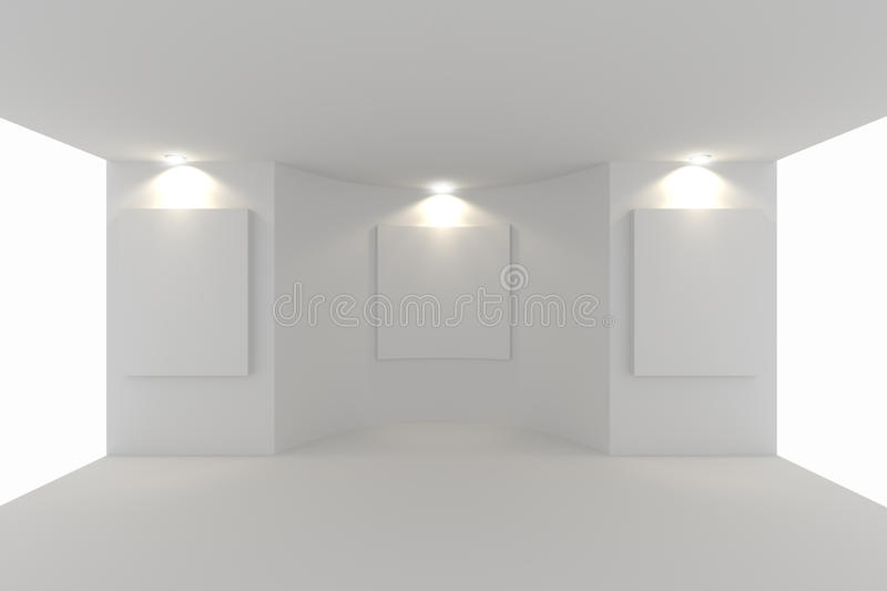 Canvas On White Wall In The Gallery Stock Illustration