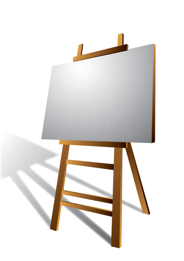 Canvas on Wooden Art Easel royalty free illustration