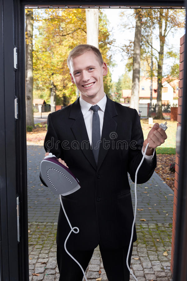 Canvasser trying to sell the iron royalty free stock photo