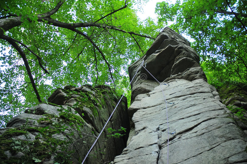 Canyon of Booki, climbing. Rocks of a canyon of a river near Zhashkov, Ukraine royalty free stock photography