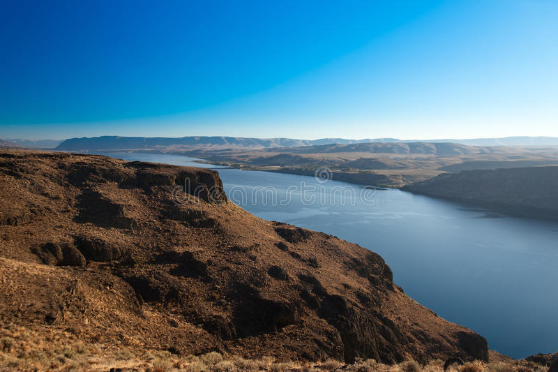 Canyon of Columbia river, (view from Wanapum Vista view point),. Washington in USA stock image