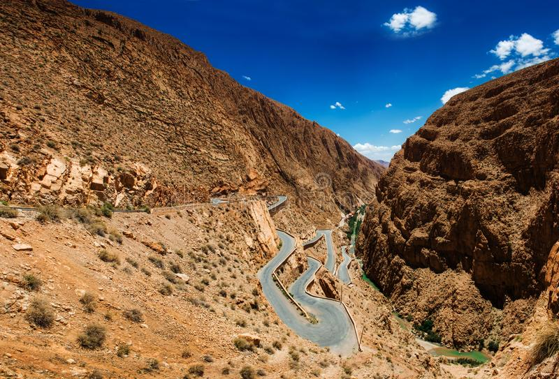 Serpentine roads in the mountains of Morocco stock images