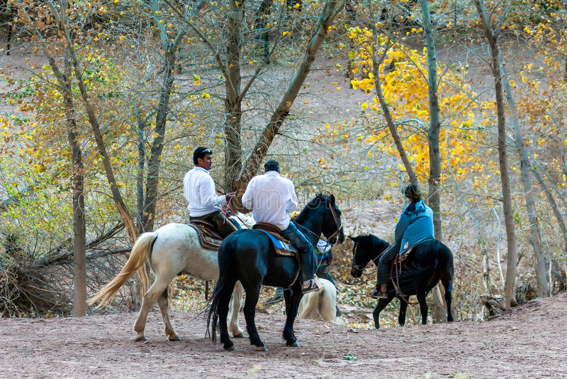 CANYON DE CHELLY, ARIZONA/USA - 12 NOVEMBRE: Equitazione nel Ca fotografie stock