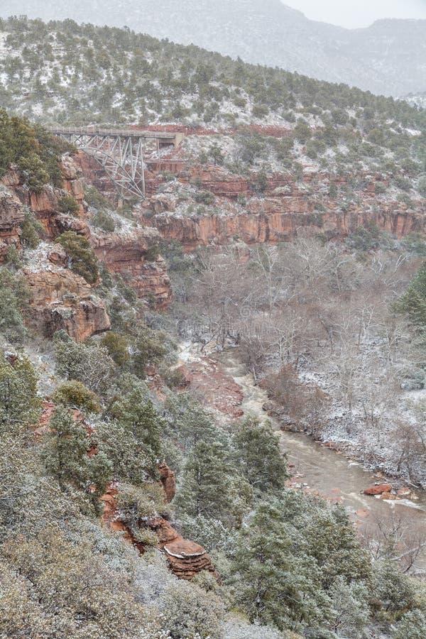 Canyon de crique de chêne en hiver images stock