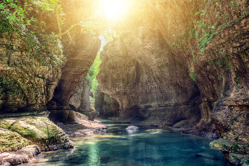 Canyon de Martvili en Géorgie photo stock