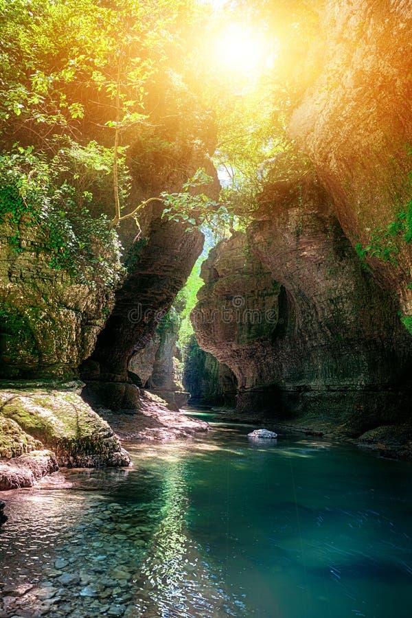 Canyon de Martvili en Géorgie image libre de droits