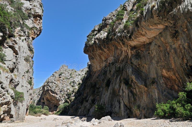 canyon de pareis洪流 库存图片
