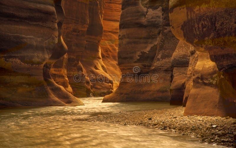 Canyon del fiume in Wadi Mujib, Giordania fotografia stock
