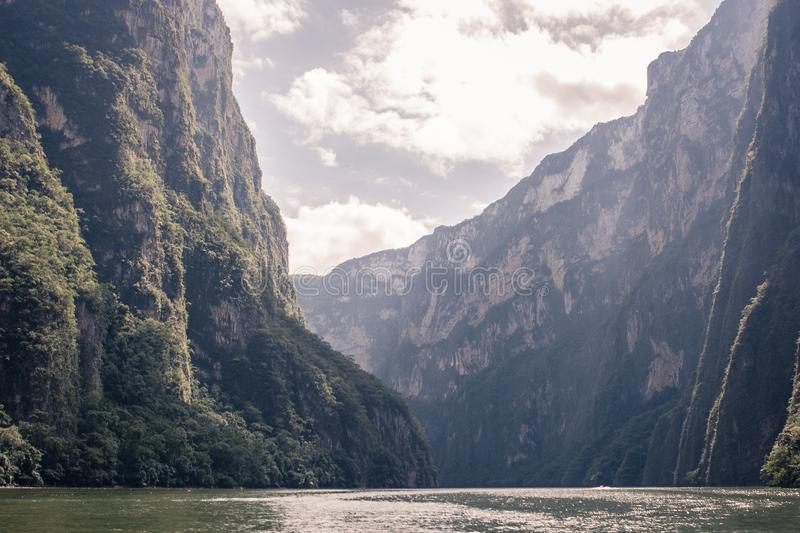 Canyon del Sumidero, Chiapas, Mexico. Panoramic view of the Canyon del Sumidero, Chiapas, Mexico royalty free stock photography