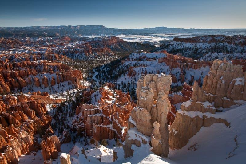 Canyon di Bryce nella neve fotografia stock