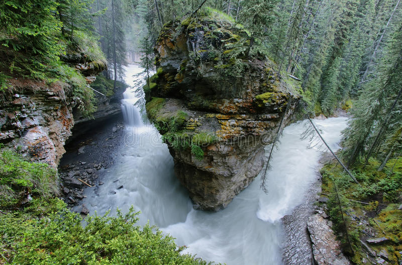 Canyon di Johnston, parco nazionale di Banff fotografie stock