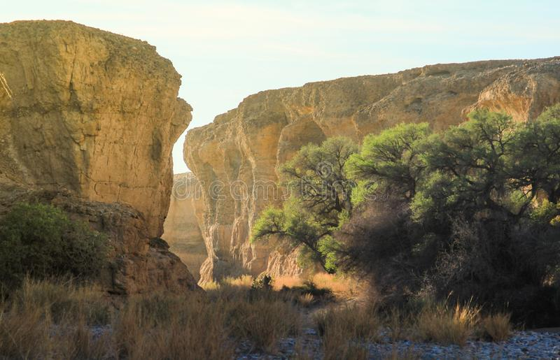 Canyon di Sesriem, una gola naturale scolpita da milioni potenti del fiume di Tsauchab di anni fa fotografia stock libera da diritti