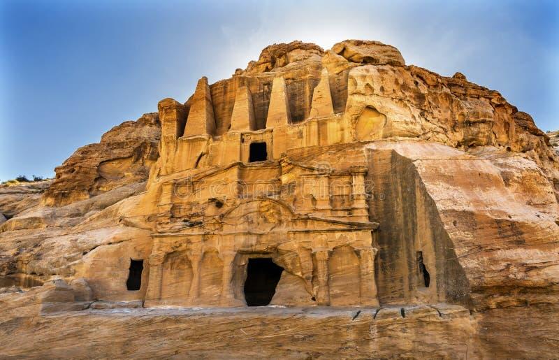 Canyon externe Petra Jordan d'EL-siq Triclinium Siq de Bab de tombe d'obélisque image stock