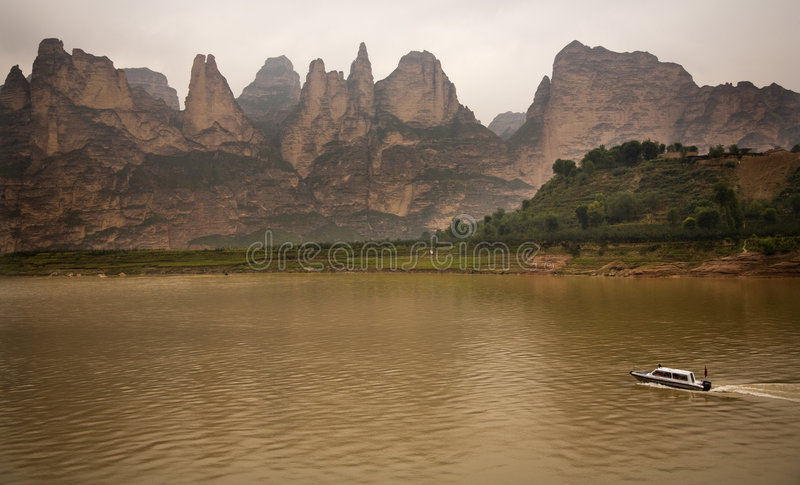 Canyon Gansu Cina del bacino idrico di Liujiaxia fotografie stock