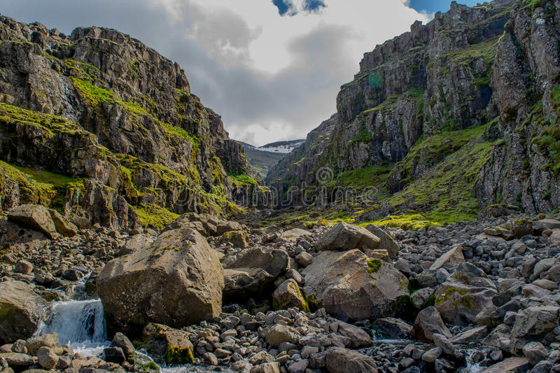 Canyon in Iceland. Canyon along the Eastern Fjords, Iceland stock images