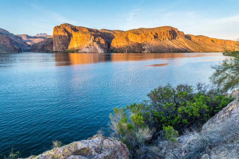 Canyon Lake in Arizona. At sunset stock image