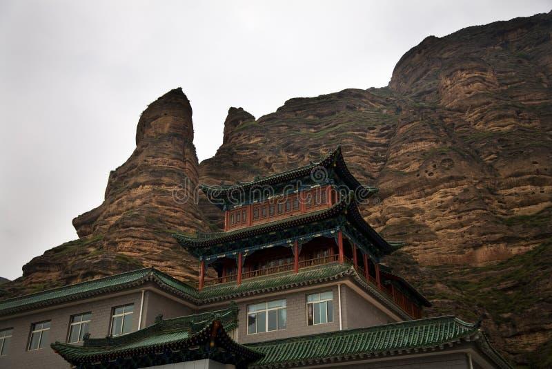 Canyon Lanzhou Gansu Cina della roccia del tempiale buddista immagine stock