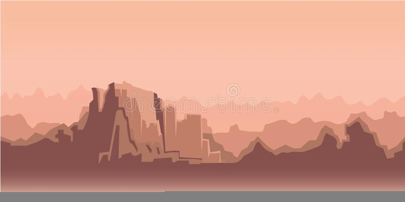 Canyon morning landscape, beige tone. Vector illustration. Flat style. Horizontal. royalty free illustration