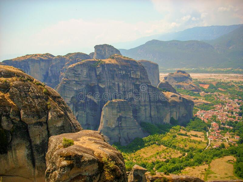 Canyon of mountains and hills in Greece near Meteora monasteries stock photo