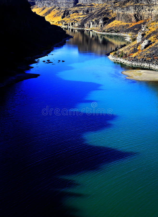 Canyon River with Fall Trees stock images