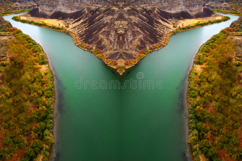 Canyon River with Fall Trees royalty free stock image
