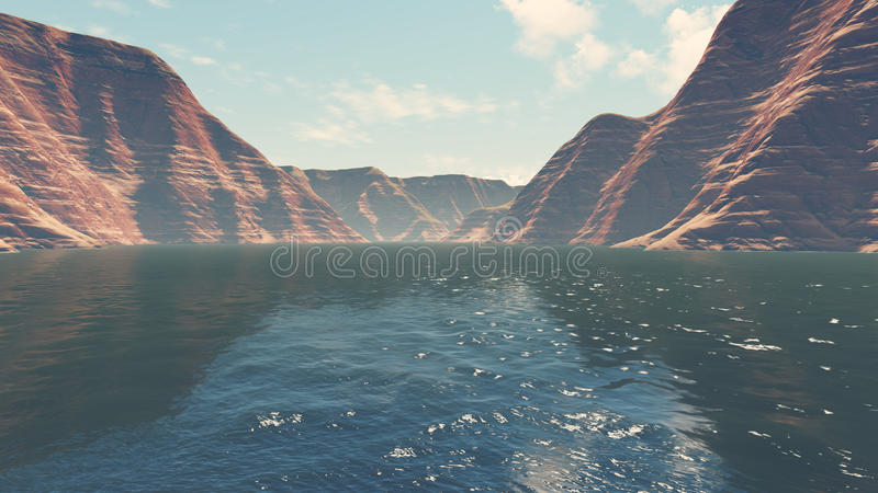 Canyon river low angle view. River level view of absctract red rocks during daytime. Realistic 3D illustration was done from my own 3D rendering file stock illustration