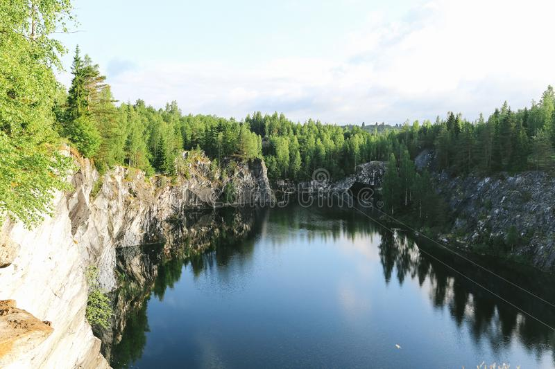 Canyon Ruskeala, Karelia Republic Russia. Granite marble, lake stock photos