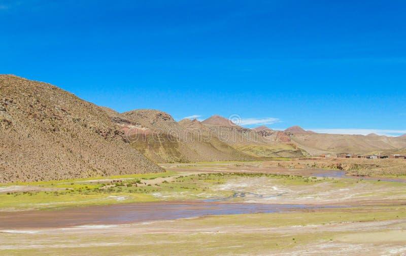 Canyon sec de rivière de paysage d'Altiplano images libres de droits