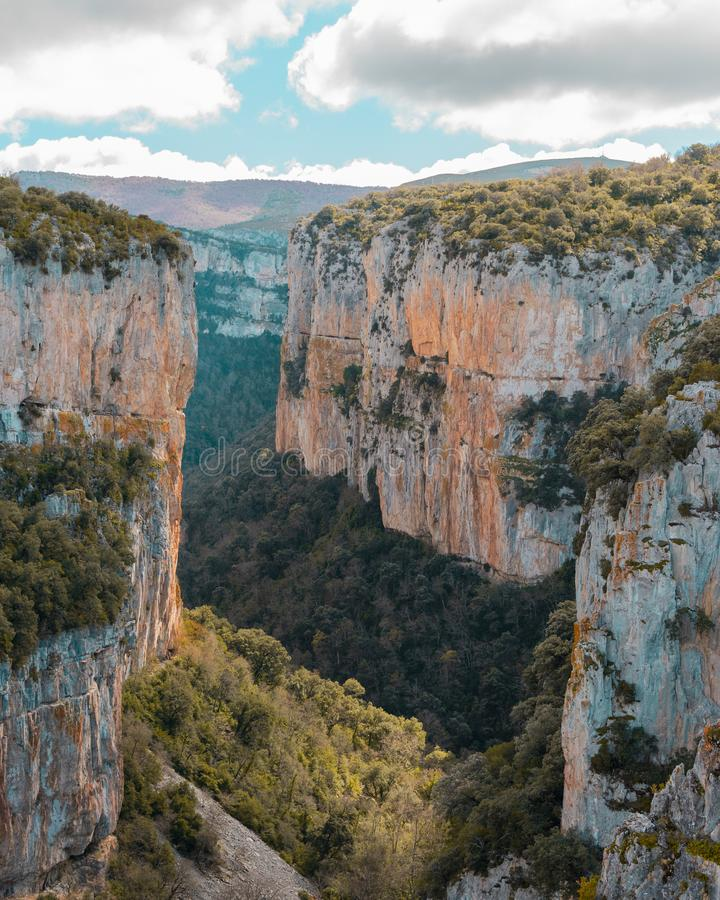 Canyon surrounded by high cliffs. royalty free stock image
