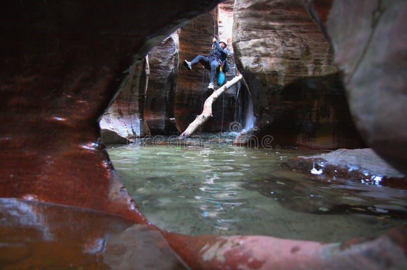 canyoneering的犹他 库存图片