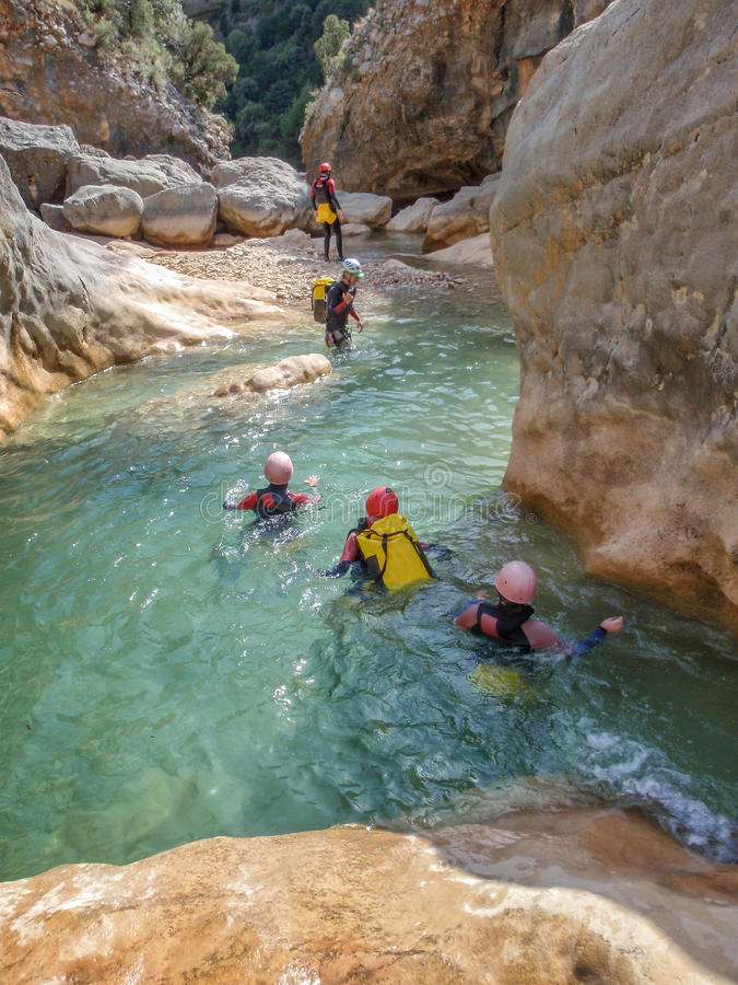 Canyoning In Barranco Oscuros Sierra De Guara Aragon Spain
