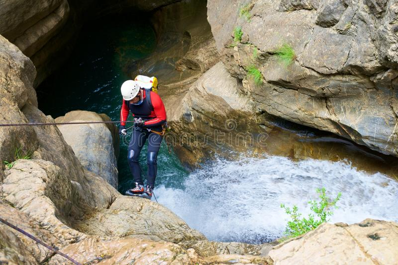 Canyoning in Spanje stock foto's