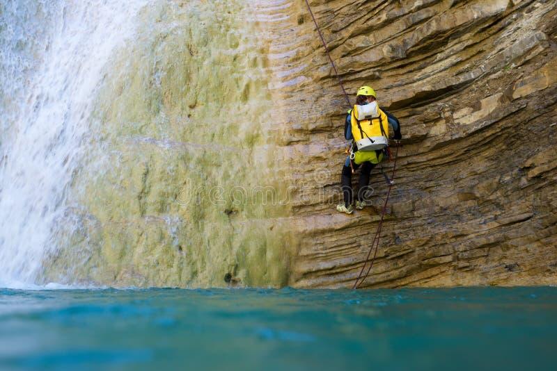 Canyoning w Hiszpania fotografia stock