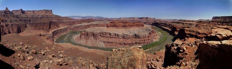 Canyonlands-Gooseneck übersehen Panorama lizenzfreie stockfotografie