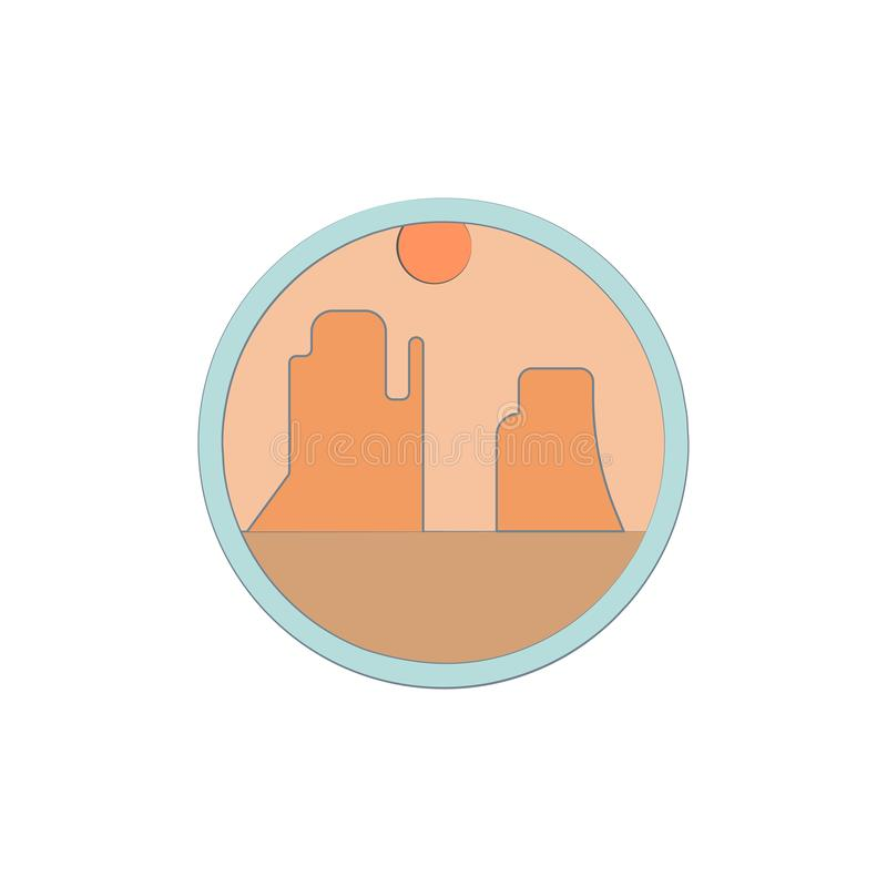 Canyons colored in circle icon. Element of colored landscape in circle icon for mobile concept and web apps. Colored Canyons can b stock illustration
