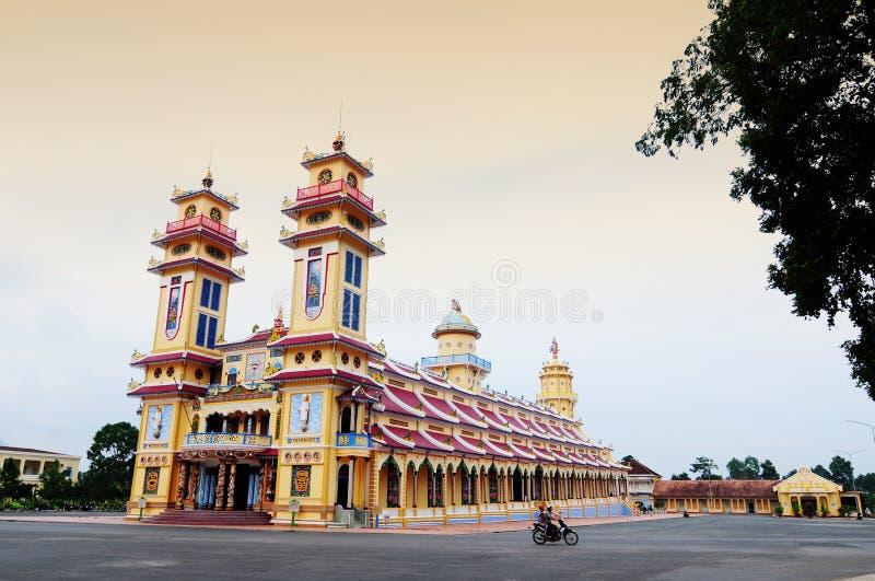 Cao戴圣洁寺庙看法在Tayninh省,越南的 库存照片