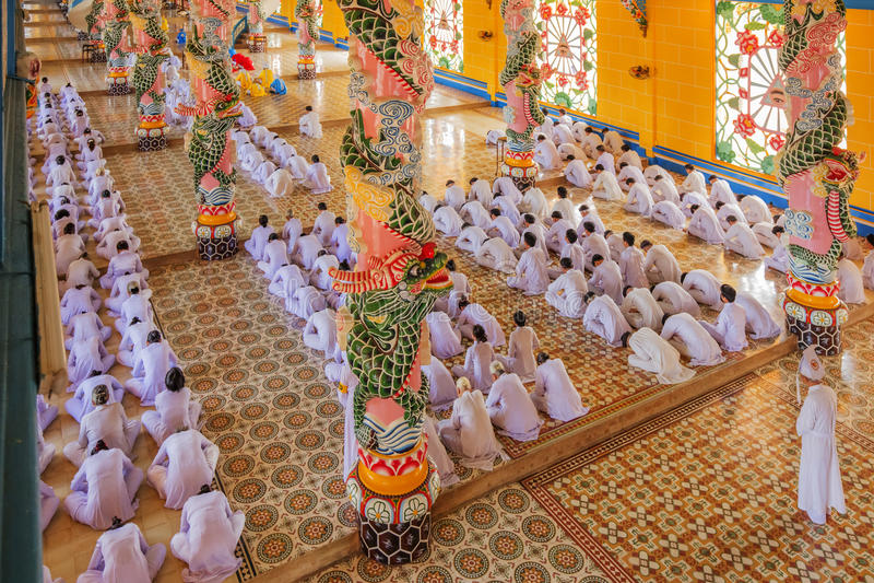 Cao Dai Holy See Temple, Tay Ninh-provincie, Vietnam royalty-vrije stock afbeelding