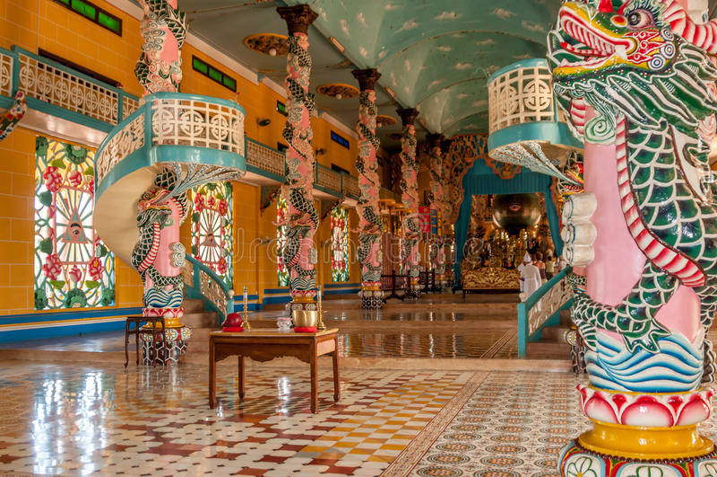 In Cao Dai Temple stockbild