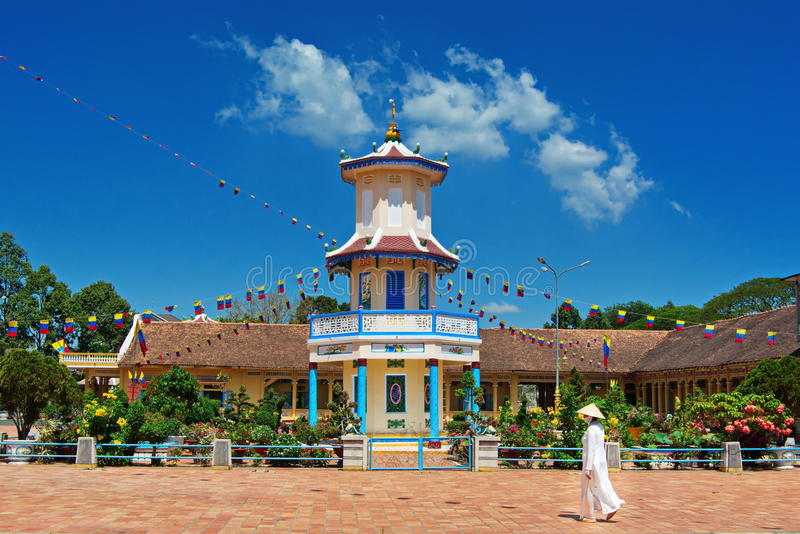 Cao Dai Thempele in the Southern Vietnam - caosdaism royalty free stock image