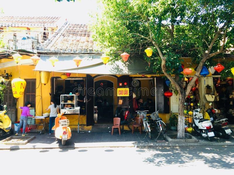Cao Lau restaurant, Vietnamese clear soup local food at Hoi An ancient town, Vietnam stock images