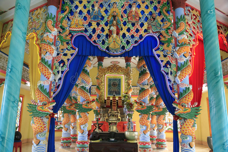 CaoDai tempel, Tra Vinh, Mekong delta, Vietnam royaltyfri foto