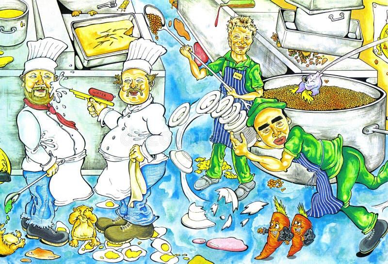 Caos de la cocina stock de ilustración
