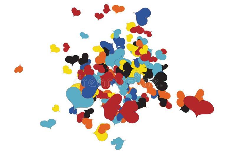 Caos enrrollado del confeti de los corazones stock de ilustración