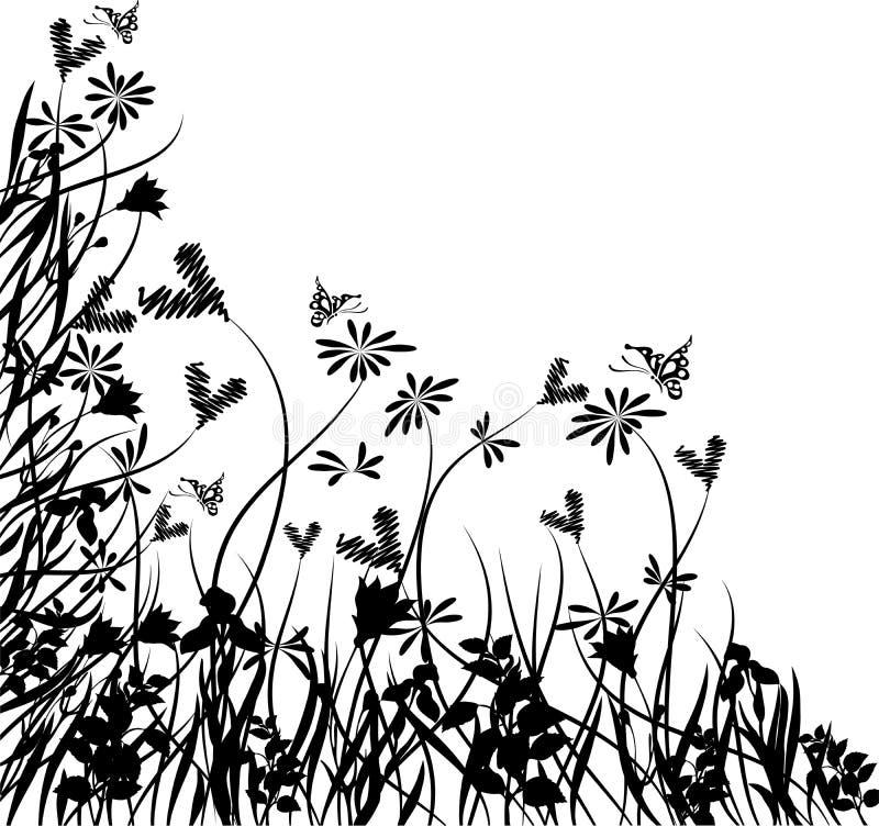 Caos floral de la tarjeta del día de San Valentín, vector ilustración del vector