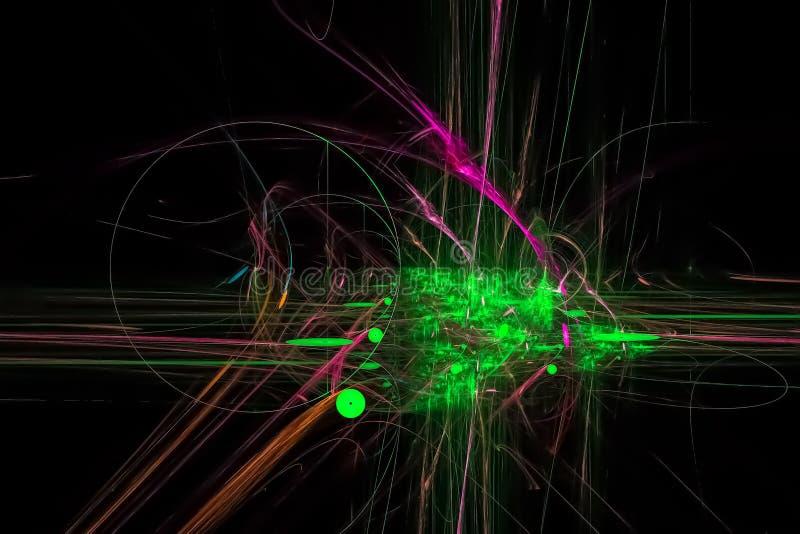 Caos vibrante hermoso oscuro del poder de la chispa de la imaginación de la fantasía brillante digital abstracta del fractal stock de ilustración