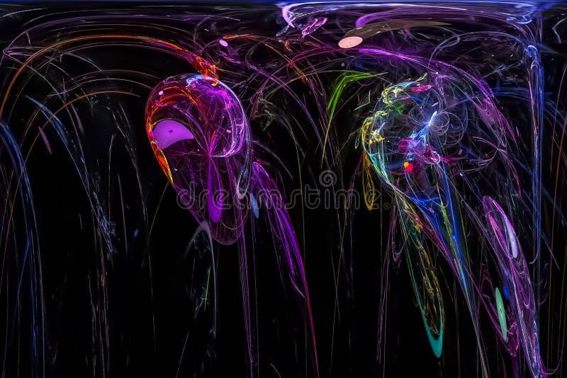 Caos vibrante hermoso oscuro del poder de la chispa del modelo de la imaginación de la fantasía futurista brillante digital abstr ilustración del vector